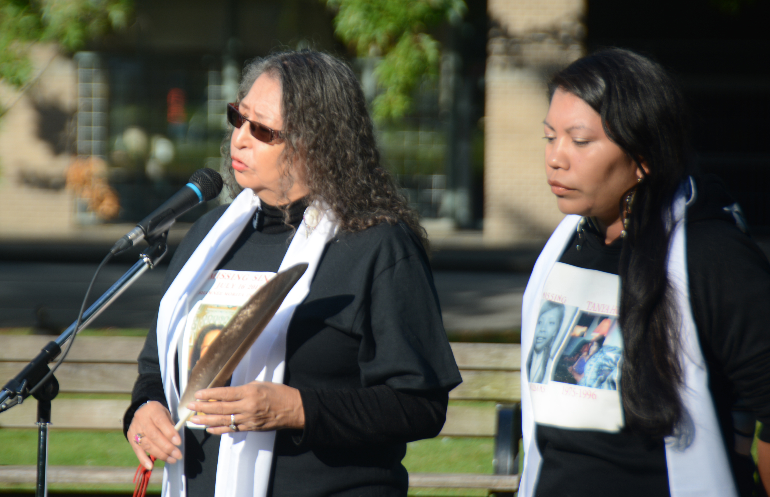 Linda Peters speaks about her missing niece, Shawnee Morita Inyallie, with Lorelei Williams at the Petition Ceremony and Press Conference, Sept 27 2018